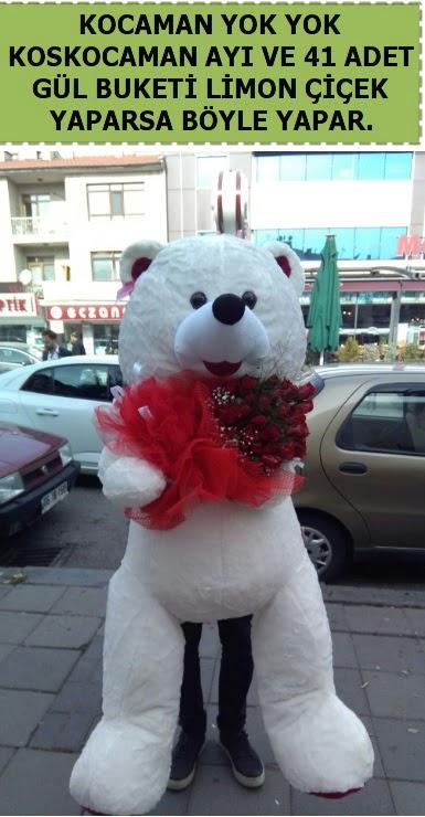 Koskocaman beyaz ayı ve 25 adet gül  Türkiye çiçekçi telefonları