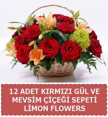 12 gül ve mevsim çiçekleri sepeti  Türkiye çiçek yolla