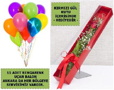 15 Adet uçan balon ve kutuda kırmızı gül  Türkiye İnternetten çiçek siparişi