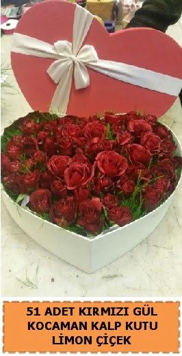 51 adet kırmızı gül kocaman kalp kutu  Türkiye yurtiçi ve yurtdışı çiçek siparişi