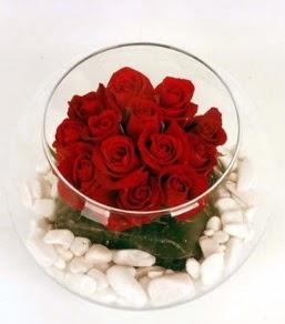 Cam fanusta 11 adet kırmızı gül  Türkiye yurtiçi ve yurtdışı çiçek siparişi