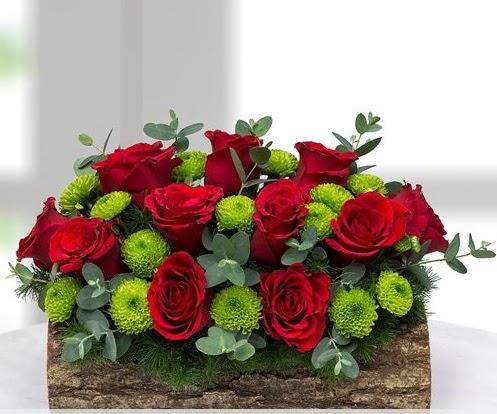 Silindir kütükte 11 kırmızı gül ve krizantem  Türkiye çiçek satışı