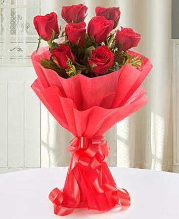 9 adet kırmızı gülden modern buket  Türkiye çiçek mağazası , çiçekçi adresleri