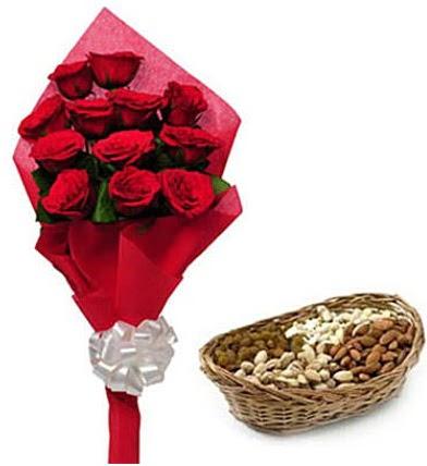11 adet kırmızı gül ve sepette kuruyemiş  Türkiye çiçek satışı