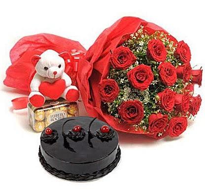 12 kırmızı gül ayıcık çikolata ve yaş pasta  Türkiye yurtiçi ve yurtdışı çiçek siparişi