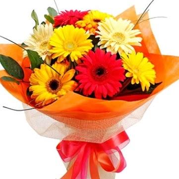 9 adet karışık gerbera buketi  Türkiye İnternetten çiçek siparişi