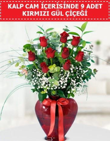 Kırmızı kalp camda 9 kırmızı gül  Türkiye çiçek yolla , çiçek gönder , çiçekçi