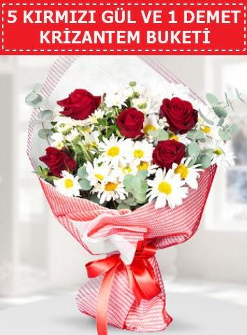 5 adet kırmızı gül ve krizantem buketi  Türkiye çiçek yolla , çiçek gönder , çiçekçi