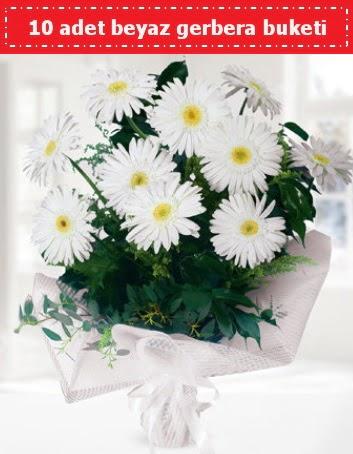10 Adet beyaz gerbera buketi  Türkiye İnternetten çiçek siparişi