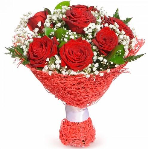 7 adet kırmızı gül buketi  Türkiye çiçek , çiçekçi , çiçekçilik