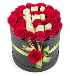 41 adet kırmızı beyaz gül harfli  Türkiye güvenli kaliteli hızlı çiçek